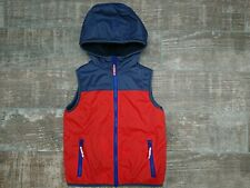 Mini Boden Winter REVERSIBLE Sherpa Vest Size 6-7Y VGUC Blue and Orange Hood Zip