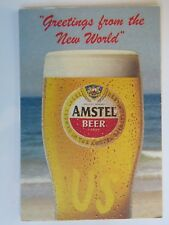 Beer COASTER ~*~ Greetings AMSTEL Lager by Heineken ~*~Zoeterwoude, Netherlands