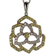 Diamond Necklace Diamond Pendant With Diamonds And Yellow Sapphires in 14k Gold