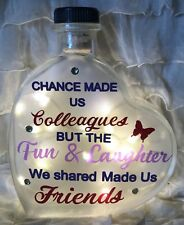 "LED 6"" Glass Light Up Heart Bottle Lamp Colleagues Friends Quote Leaving GIFT"