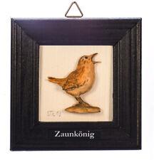 """Wandbild """"Zaunkönig""""  Relief aus Buchsbaumholz"""