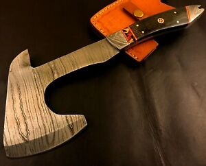 Custom Handmade Damascus Steel Hatchet/ Axe-Leather Sheath-MD93