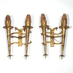 "Pair of Vintage French Gothic Torch Sconces, ""Chateau"" Style Mid-Century Riviera"