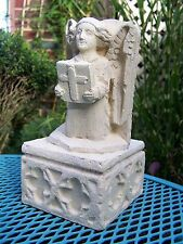 Cast stone angel on gothic plinth garden ornament