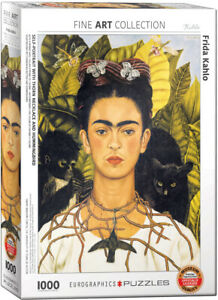 Self Portrait with Thorn Necklass and Hummingbird 1000 Pcs Puzzle Frida Kahlo