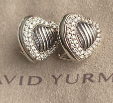 David Yurman Sterling Silver Pave Diamond Cable Heart Earrings