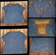 Rhythm Blue Womens Plus Size 1X Denim Button Front Top Embroidered
