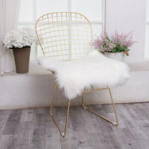 Fluffy Faux Fur White Grey Chair Seat Pads Sheepskin Seat Cushion for Home Decor