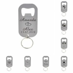 50Pcs Personalized Customize Bottle Openers Keychain Party Wedding Engraved Gift