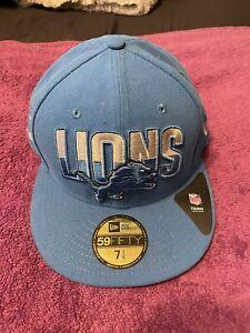 "DETROIT LIONS NEW ERA FITTED CAP HAT 7 1/4"" BRAND NEW BLUE NFL NFC FOOTBALL"