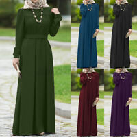ZANZEA 8-24 Women Pleated Belted Long Sleeve Muslim Dress Robe Maxi Kaftan Abaya
