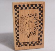 Sun With Unhappy Frown Face In Checkered Frame : Rubber Stamp