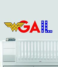 Personalized Name Wonder Woman Nursery - Baby Girl Decoration - Wall Decal