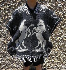 Mexican Poncho, Horses ,Costume ,Blanket Serape Gaban ,Kids ,BLACK & TAN ,6 - 12