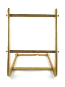 Vintage Wooden Quilt Rack Display Stand 29 inch Tall Triangle Shaped
