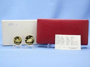 China 2 x 1 Yuan Messing 1980 Olympiade * Proof * mit Box