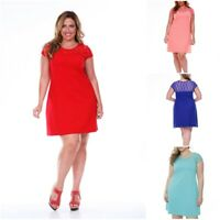 White Mark Stylish Plus Size Solid Color Summer Time Dress For Women