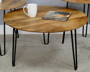 Rustic Round Side Table/Coffee Table/Mango Wood/Lamp Table/Hairpin Legs/41x71x71