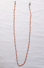 """Red & Gold Beaded Eye Glass Holder Necklace 30""""-Gold/Blk Ends-Pizazz Creations"""