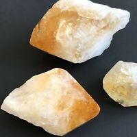 Lot Of 3 Natural Beauty Citrine Crystal Point Solar Gemstone Of Cleansing Power