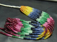 """100% Natural Multi Sapphire,Emerald,Ruby Rondelles Beads 15"""" 1 Strand Free Ship."""