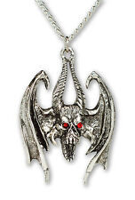 Gothic Winged Demon with Red Crystal Eyes Pendant Necklace NK-327