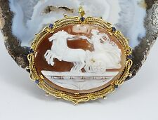 Antique Estate Cameo Carved Shell Sapphire Brooch 18k Yellow Gold 18.6 Grams
