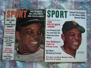 2 issues of SPORT Magazine w/ WILLIE MAYS covers October 1962 August 1963