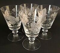 "HEISEY PLANTATION IVY WATER GLASSES MID CENTURY SET OF 4 VINTAGE 5 1/2"" VINTAGE"