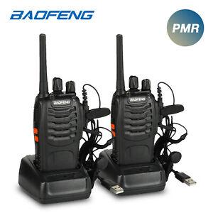 2x Baofeng PMR446 BF-88E 0.5W 3KM Walkie Talkie Hand-Funkgerät Auto Squelch VOX