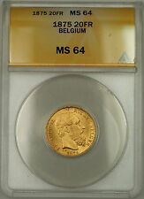 1875 Belgium 20 Fr Francs Gold Coin Leopold II ANACS MS-64 *Very Choice*