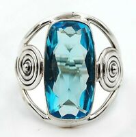 10CT Flawless Blue Topaz 925 Solid Sterling Silver Ring Jewelry Sz 7, CD24-5