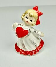Vintage Lefton Valentine Girl Figurine Holds Heart Red Bow 1950s with Label Euc