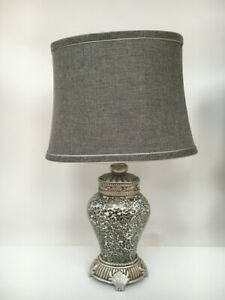 Regency Large Table Lamp sparkle Mosaic base Fabric shade Overall height 46cm