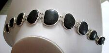 Original bracelet bijou rétro vintage couleur argent cabochons noir 1561