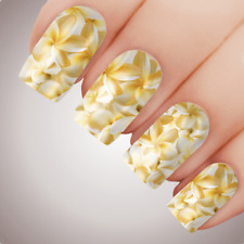 YELLOW FRANGIPANI Floral Full Cover Nail Decal Art Water Slider Transfer Tattoo