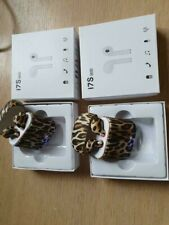 2x panther leopard wireless in ear earbuds bluetooth airpods look a like