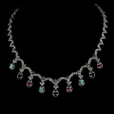 Unheated Oval Emerald 6x4mm Ruby Sapphire Marcasite 925 Sterling Silver Necklace