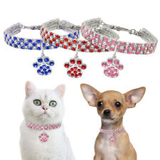 Rhinestone Dog Necklace Small With Paw Pendant Bling Crystal Pet Puppy Collar SM