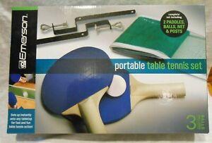 Emerson Portable Table Tennis set - 2 paddles, 3 balls, net and posts - PingPong