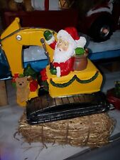 Santa on a Track machine / excavator. Christmas Ornament.