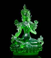 21CMTibet Tibetan Buddhism Resin Lotus Green Tara Kwan-yin GuanYin Buddha Statue