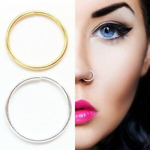 Sterling Silver and 14k Gold Plated Plain Nose Ring Cartilage Tragus Hoop 8-10mm