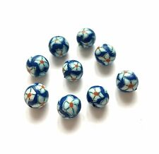 9 POLYMER CLAY FIMO ROUND FLOWER BEADS 10mm