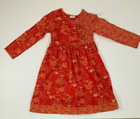 Girls Hanna Andersson Size 130 Cotton Long Sleeve Dress Floral Red Orange EUC