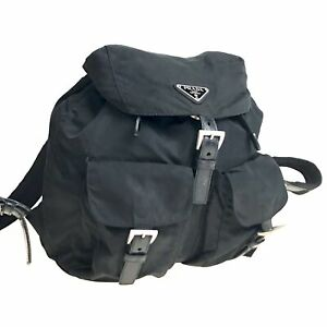 100% authentic PRADA nylon backpack black used 3615-11A30
