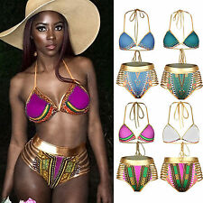 Boho donna push-up set bikini fascia costume da bagno abbigliamento Spiaggia