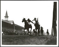 1933 KENTUCKY DERBY 8X10 HORSE RACING PHOTO - THE FIGHTING FINISH!