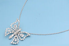 Buttefly Necklace with Cubic Zirconia Sterling Silver 925 Jewelry 16-18 inches