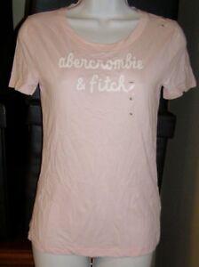 Abercrombie Kids Girls XL Logo T-shirt Glitter Logo Cotton Candy Pink NEW/tags
